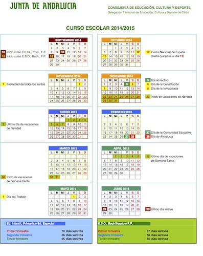 Calendario Escolar Andalucia 2020.Calendario Escolar Para El Curso 2014 15 Fedapa Cadiz