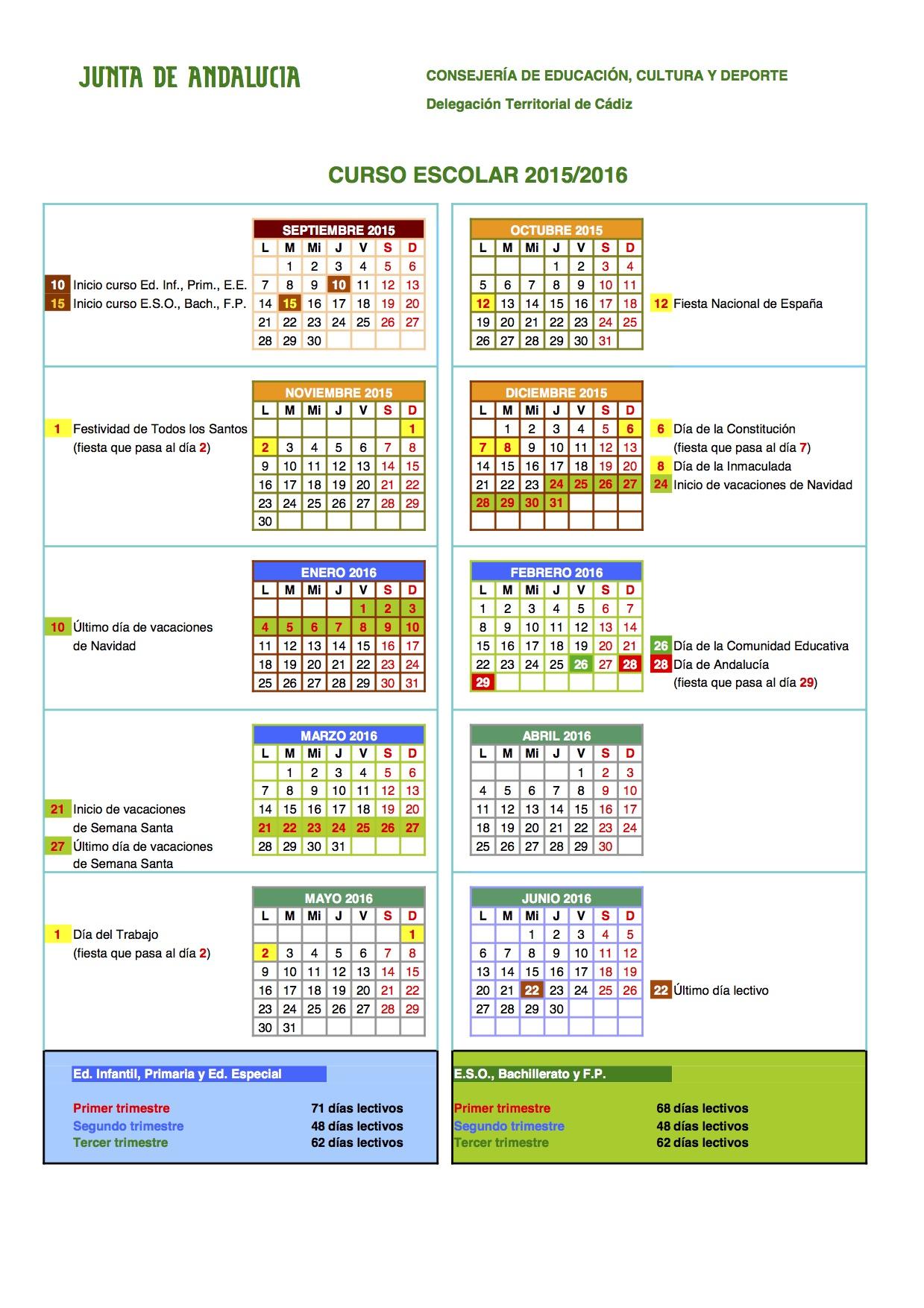 La clase de manolo calendario escolar for Consejeria de educacion junta de andalucia